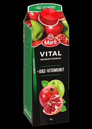 Marli Vital  Granaattiomenamehujuoma + D&C-vitamiinit 1L